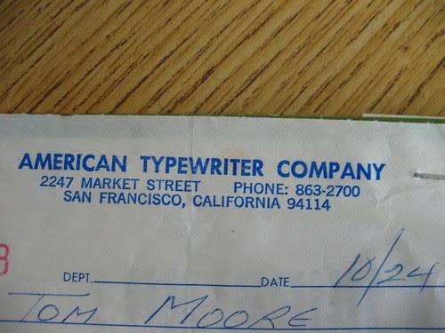 Typewriter Receipt