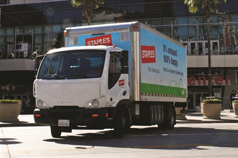 Staples currently utilizes 53 Smith Newton battery-power electric trucks in or near eight cities across the U.S. on routes that include frequent stops and limited miles.