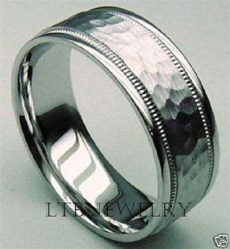 10K WHITE GOLD MENS WEDDING BAND RING HAMMERED 7MM   eBay