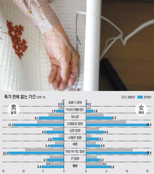 질병 별 죽기 전에 앓는 기간 그래프