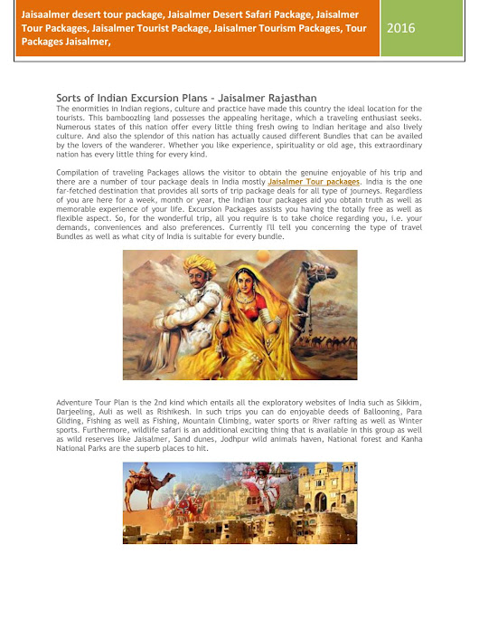 Tour packages, tourist packages, travel packages Jaisalmer Rajasthan