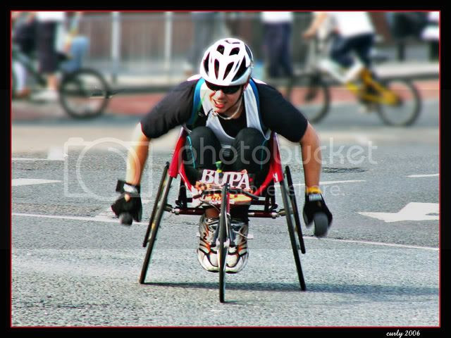 picture of wheelchair competitor, great north run, south shields, 2006