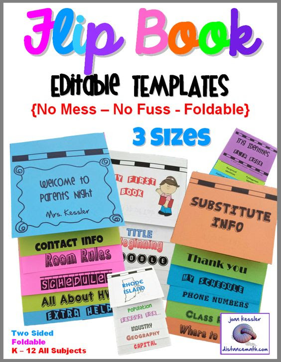 Interactive Notebooks Flip Book Templates Foldable - NO MESS 3 ...