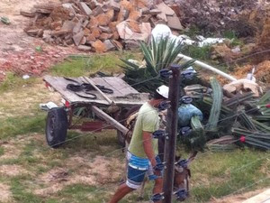 No local são depositados restos de madeira, tijolos e plantas (Foto: Janeide Moraes/Arquivo pessoal)