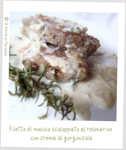 filetto di manzo scaloppato al rosmarino con crema al gorgonzola