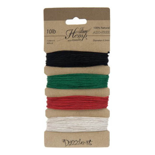 74401010-02 Stringing - .5 mm Hemp Cord - Basic Colours (Card)