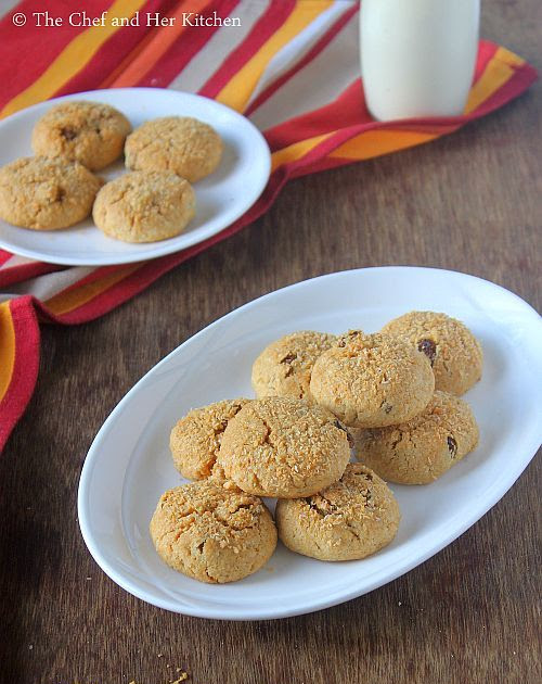 Wholewheat Coconut Raisin Cookies | Eggless Cookie Recipes