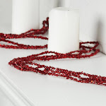 Red Sparkling Bead and Glitter Garland, 9' long x 3/4'' wide, Red/Burgundy KX1401RD, Craft Supplies