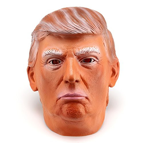 Trump and Clinton Halloween Costumes - Choose Edgy or Funny - Donald Trump LATEX Mask, The Most Realistic & Best Look-alike, Full-head Adult Size in Two Color Choices (Suntanned)
