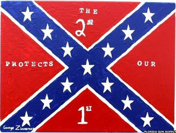 Painting of George Zimmerman's version of the Confederate Flag