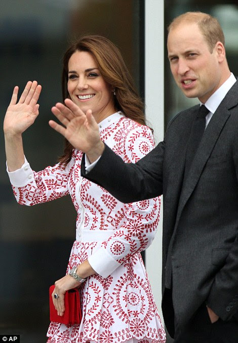 The Royal couple looked relaxed as they waved to well-wishers before they boarded the light aircraft