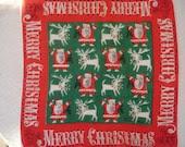 Santa and Reindeer Tammis Keefe Christmas Hanky-MINT - MossyCottage