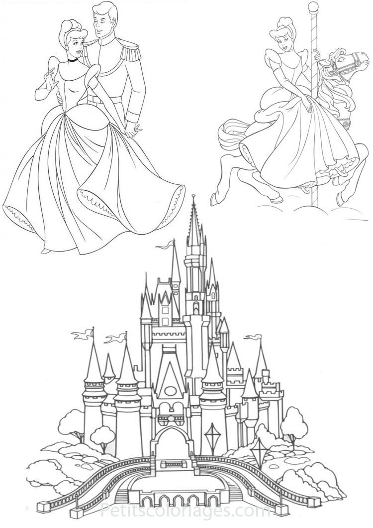 Petits coloriages cendrillon chateau prince manege