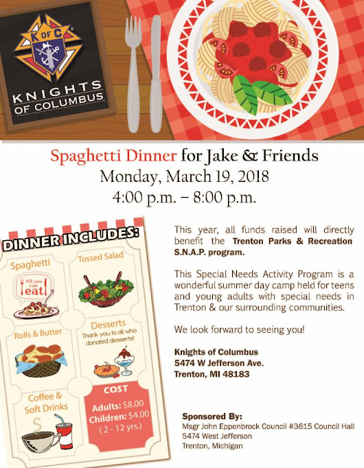 Please join us at the SNAP Spaghetti Dinner Fundraiser