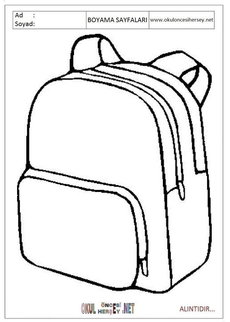Okul çantası Boyama Sayfaları