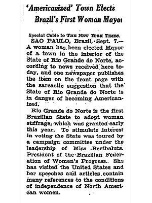 Nota no jornal americano 'New York Times' sobre a eleição de Alzira Soriano