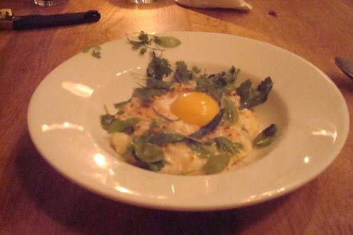 Epoisse Cheese Risotto, Hazelnut, Egg Yolk, Herb Salad