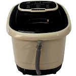 Sunpentown SPA-3549 Foot Spa Bath Massager with Motorized Rollers Tan & Black