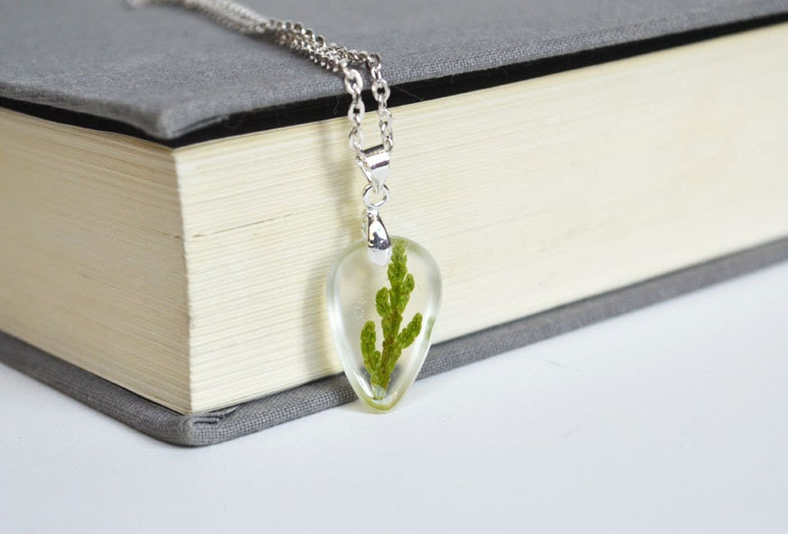 Real Plant Necklace, Pressed Botanical Cedar in Resin Necklace, Pressed Flower Jewelry, Hippie Earthy Necklace, Woodland Real Plant Jewelry - LOVEnLAVISH