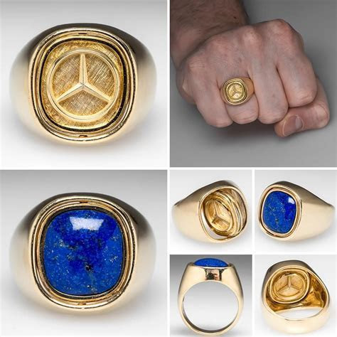 Mens Mercedes Benz Flip Ring w/ Lapis Lazuli 18K Heavy