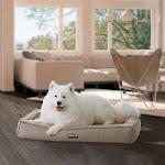 "Kirkland Signature 30"" x 40"" Orthopedic Bolster Dog Bed with Cooling Memory Foam, Tan"