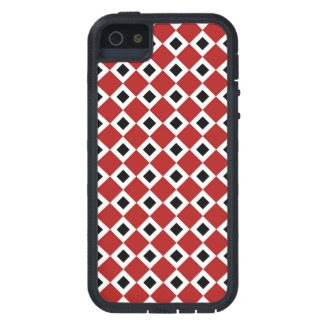 Red, White, Black Diamond Pattern Case For iPhone 5