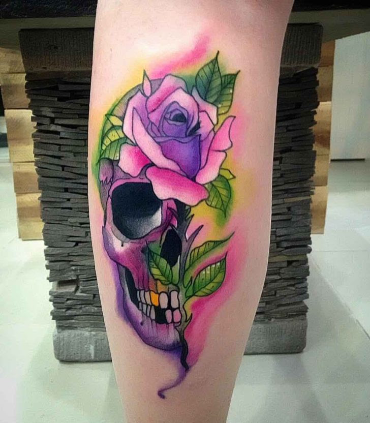 Purple Skull Rose Tattoo Best Tattoo Ideas Gallery