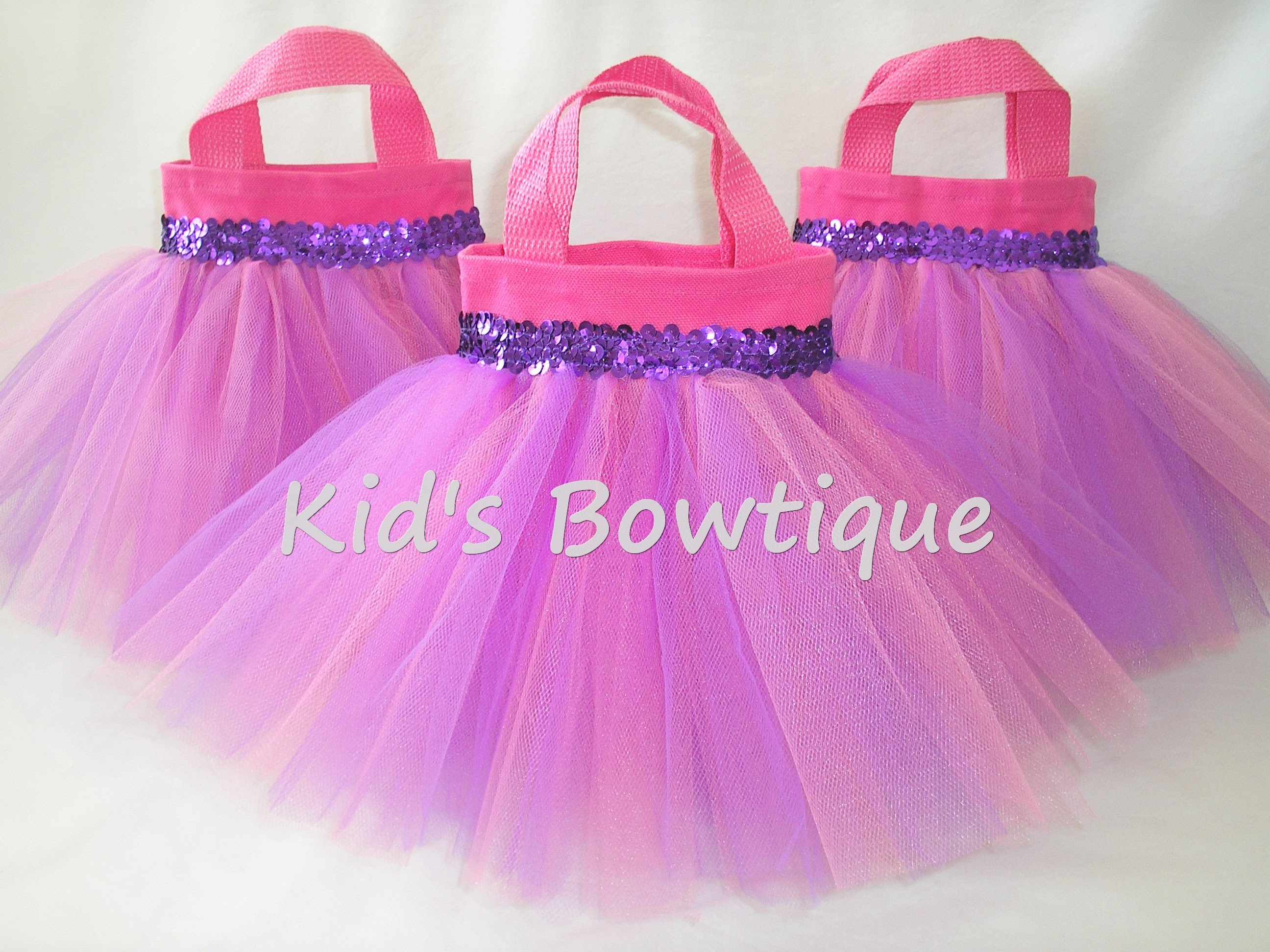 Pink And Lavender Baby Birthday Party Favor Tutu Bags