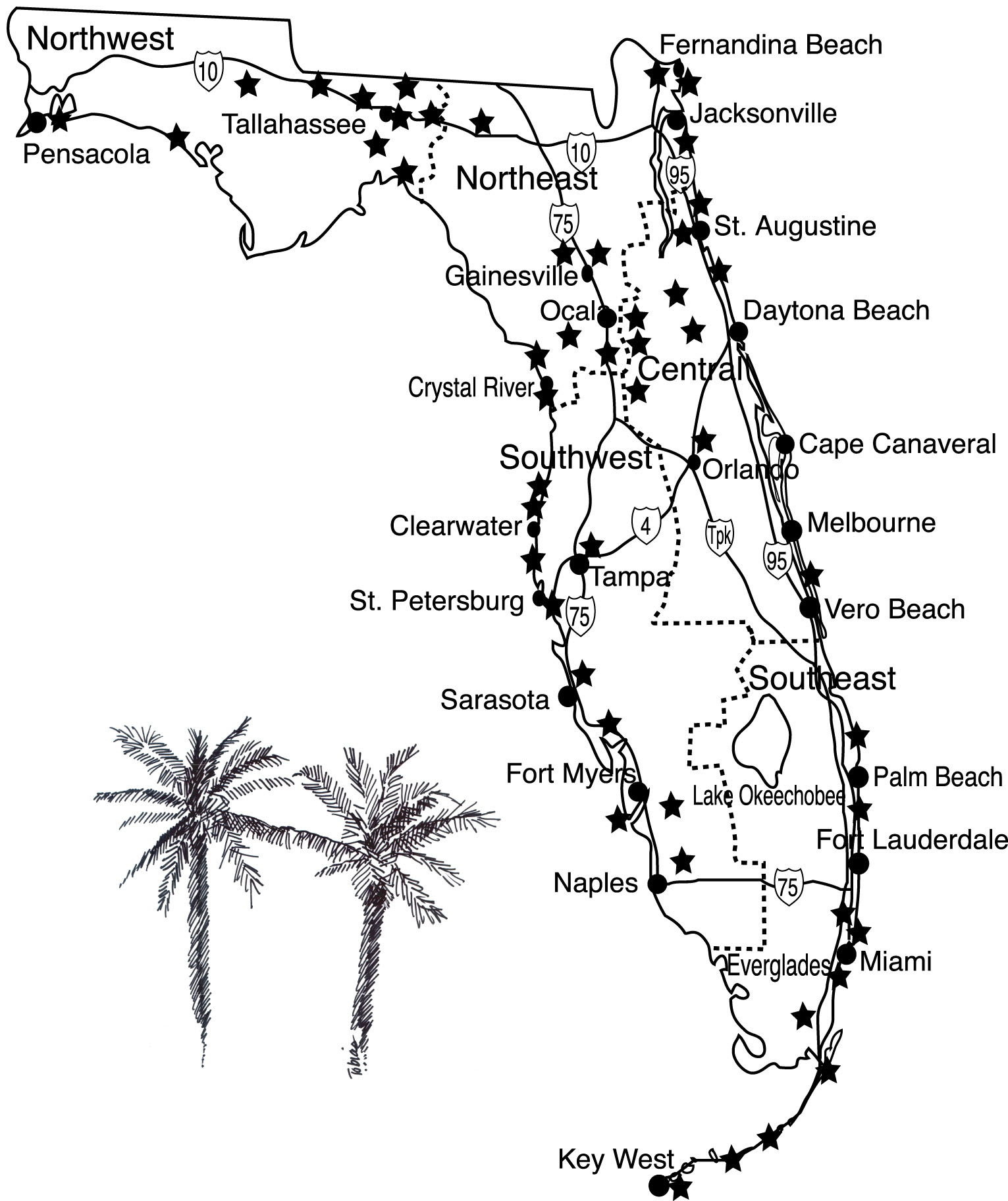 Florida Waterfalls Map Art Retro 256