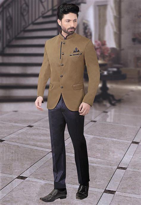 Plain Terry Rayon Jodhpuri Suit in Beige : MHG764