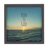Inspirational Christian Quote Run to God Premium Jewelry Box