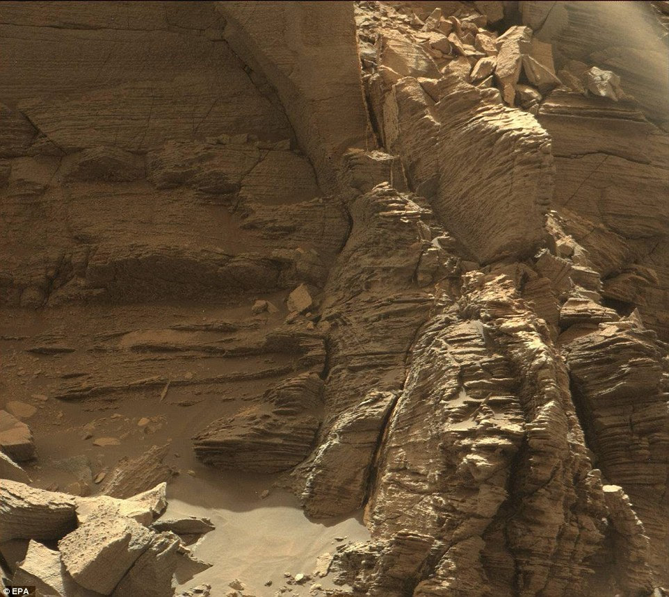 Layered rock on Mars pictured by NASA's Curiosity Mars rover, which has been on the Red Planet since August 2012