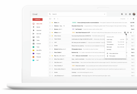 Gmail is working on snooze, smart grouping, and a Material Design interface for the web