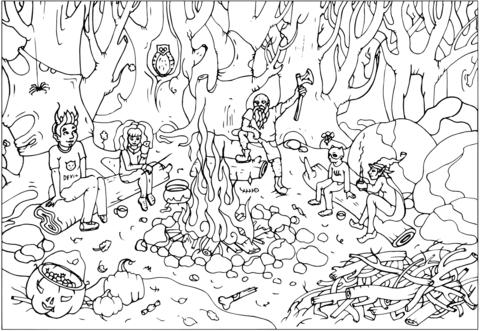 Dibujo De Historias De Miedo Sobre El Fuego Para Colorear Dibujos