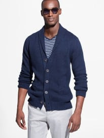He By Mango Shawl Collar Cotton Cardigan