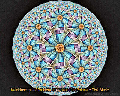 Kaleidoscope of Geometry Problem 1144 based on Poincare Disk Model.