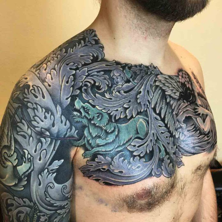 Sleeve And Chest Baroque Tattoo Best Tattoo Ideas Gallery