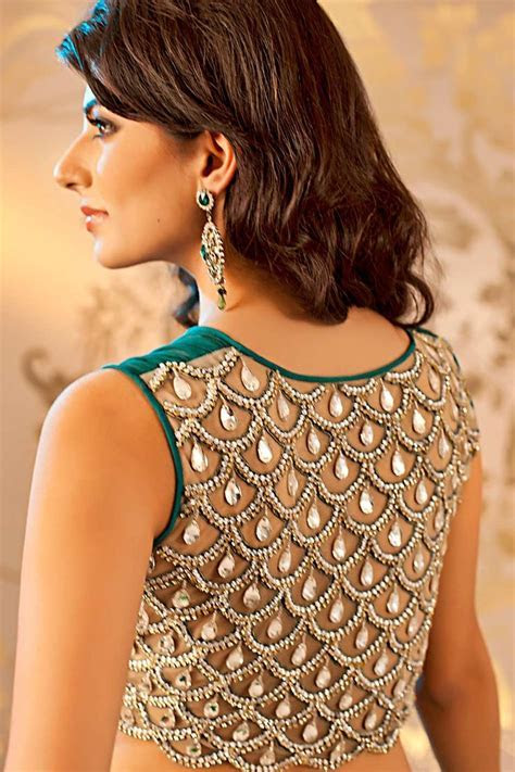 Tie Up U Neck Boat Cut Work Deep Back Blouse for Saree and