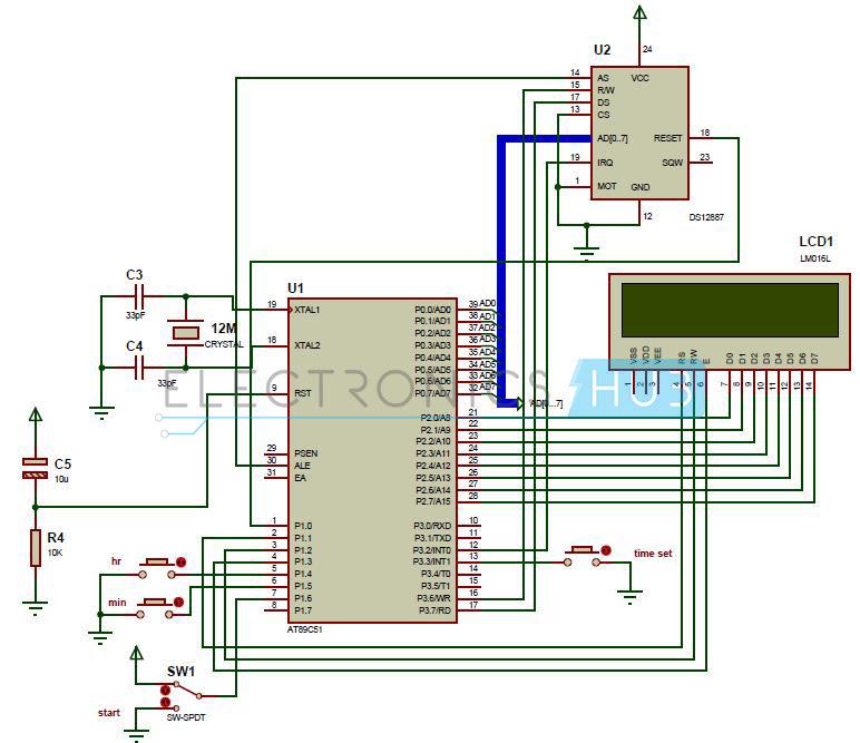 circuit diagram of digital clock using 8051 microcontroller and rtc ds12c887