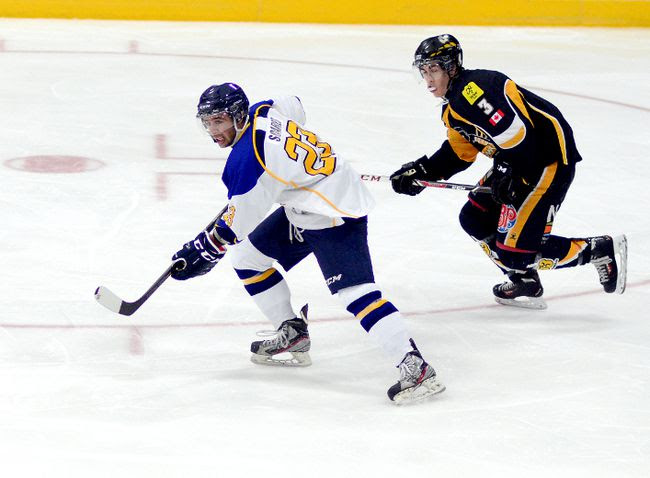 Forward Luc Soares, seen here in action against the Abitibi Eskimos at the Jus Jordan Arena in Iroquois Falls on Sept. 23, sits in the Top 10 in points and goals in his first season in the NOJHL. Soares has helped give the Gold Miners a balanced attack, with two-plus lines capable of putting the puck in the net.