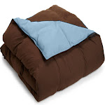 Home City Luxurious Reversible Down Alternative Comforter, Chocolate/Sky Blue, Full/Queen