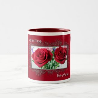 Be My Valentine Twin Roses Mug