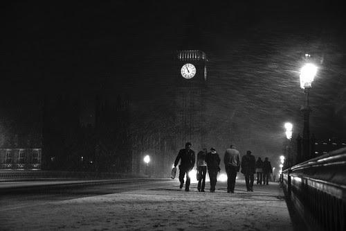 Snowy London: Westminster Bridge
