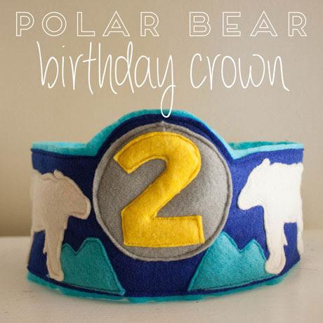 felt birthday crown polar bear octopus dinosaur