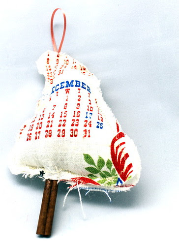 Vintage Calender Linen Christmas Tree Ornament
