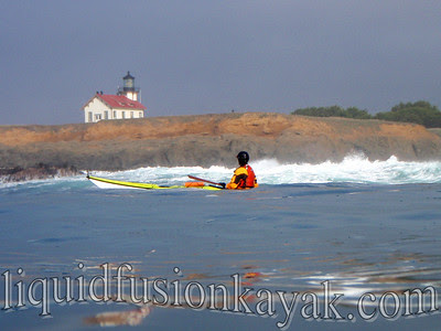 Paddling past the Pt Cabrillo Lighthouse