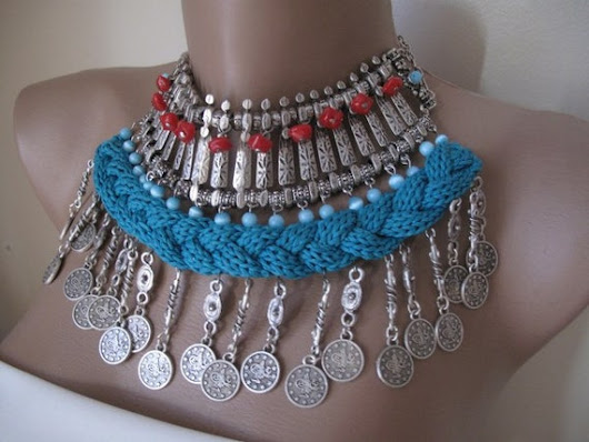 Knit Necklace Authentic Necklace Earrings Metal Work Blue