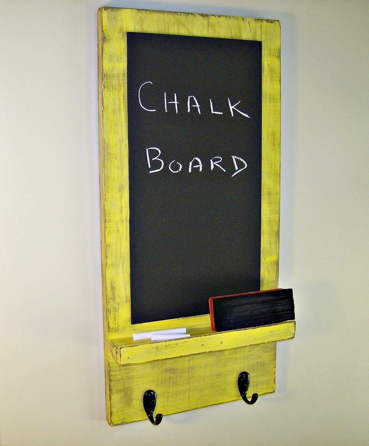 Wooden Chalkboard with Key Hooks YELLOW by BlueRidgeSawdust