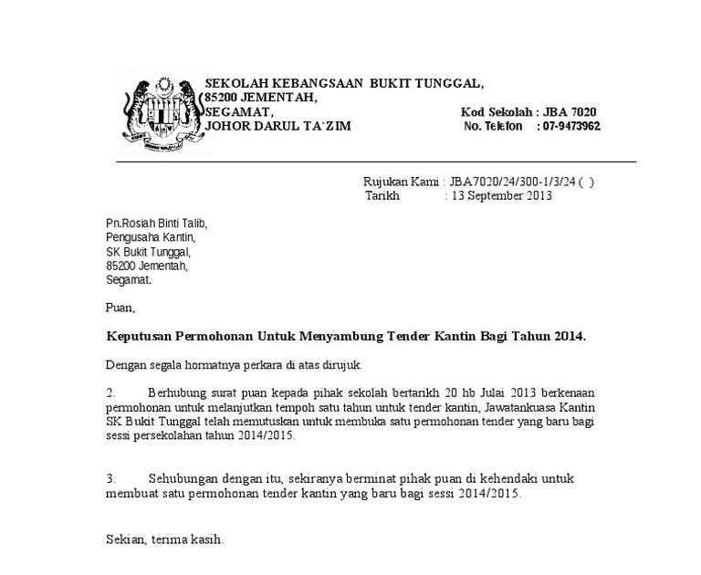 Surat Rasmi Permohonan Lanjutan Kontrak Selangor T
