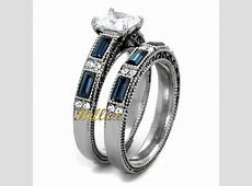 His & Hers Wedding Ring Sets Women's Stainless Steel Vintage Ring Set & Men's Titanimum Wedding